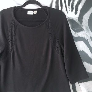 Chico's Black Lace Trim Lightweight Sweater Top 1